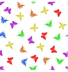 colorful butterfly silhouette seamless pattern vector image