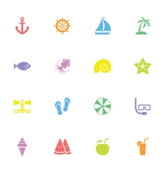colorful simple flat icon set 9 vector image