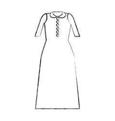 Contour long dress cloth style vector