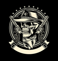 Cowboy Skull with Handguns vector