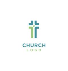 crossroad heart love christian jesus cross logo vector image