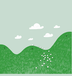 cute cartoon hills with green grass and sheeps vector image
