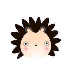 cute hedgehog face baby animal head vector image