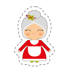 cute mrs claus christmas cut line vector image