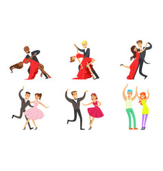 dancing couples set professional dancers vector image