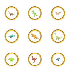 dinosaur icons set cartoon style vector image