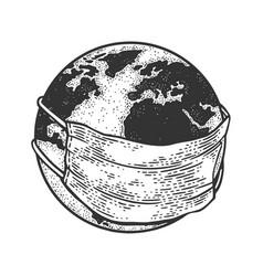 Earth globe in medical mask sketch vector