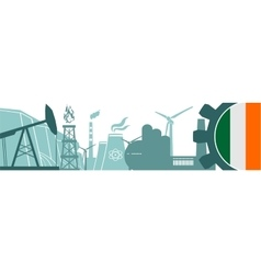 Energy and Power icons set Ireland flag vector