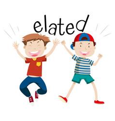 English vocabulary word elated vector