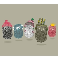 Fashionable print with group of owls for hipster t vector