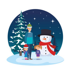 father and kids with christmas clothes in vector image