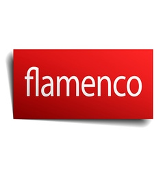 Flamenco red square isolated paper sign on white vector