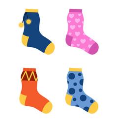 flat design colorful socks set vector image