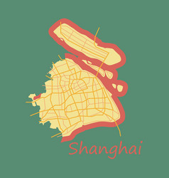 Flat detailed shanghai city road network map vector