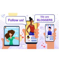 Follow blogger motivation promotion flat poster vector