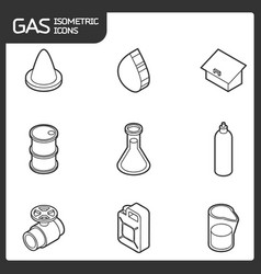 gas outline isometric icons vector image