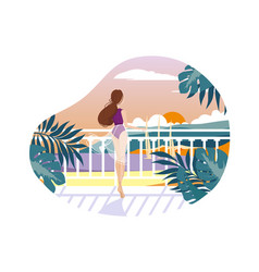 girl on balcony waiting vector image