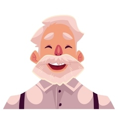 Grey haired old man face laughing facial vector