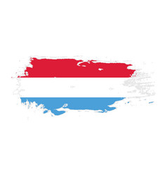 Grunge brush stroke with luxembourg national flag vector
