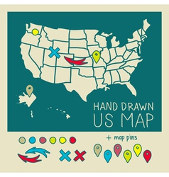Hand drawn US map travel poster vector