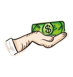 Hand holding money bill vector