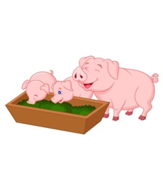 Happy farm pig family cartoon vector