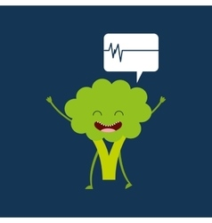 Healthy broccoli cute heartrate icon background vector