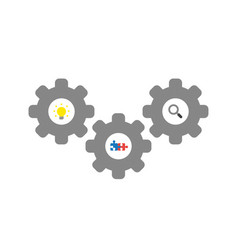 icon concept of gears with light bulb connected vector image