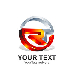 Initial letter ror rt logo template colored vector