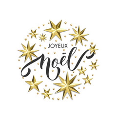 Joyeux noel french merry christmas golden vector