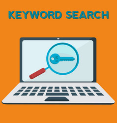Keyword searching on laptop concept vector
