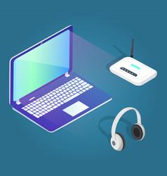 laptop and modem headphones gadgets set isometric vector image
