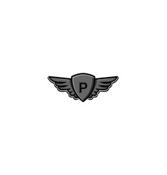 Letter p initial logo wing and badge shield vector