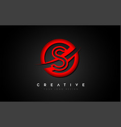 Letter s logo with a red circle swoosh design vector
