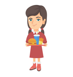 Little caucasian girl holding tray with fast food vector