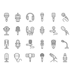 microphone simple black line icons set vector image