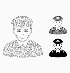 Military pilot officer mesh wire frame vector