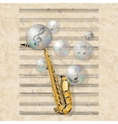 musical background with saxophone and soap bubbles vector image