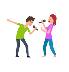musical performance singers man and woman singing vector image
