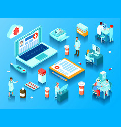 Online medicine horizontal isometric vector
