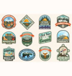Outdoor adventure patch with quotes vector