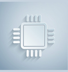 Paper cut computer processor with microcircuits vector