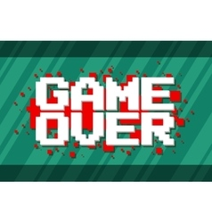 Pixel computer game over screen on red background vector