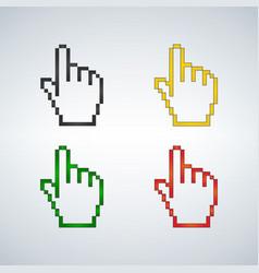 pixel hand cursor different colors set icon vector image