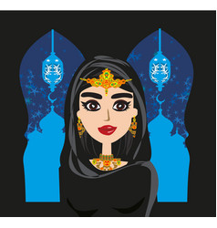 Portrait muslim beautiful girl in hijab vector