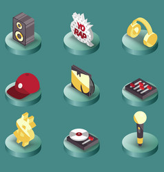 rap color isometric icons vector image