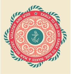 retro label with nautical elements vector image