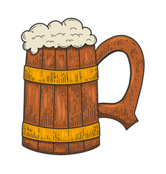 retro wooden mug beer in engraving style vector image