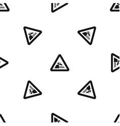 riverbank traffic sign pattern seamless black vector image