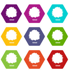 Salad icons set 9 vector